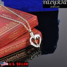 VALYRIA Dolphin Inspired Ruby Heart Cremation Jewelry Keepsake Ash Urn Necklace