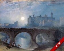 ALNWICK CASTLE AT NIGHT NORTHUMBERLAND ENGLAND PAINTING ART REAL CANVAS PRINT