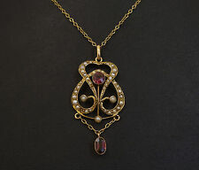 "Antique 9ct Yellow Gold 16"" Belcher Necklace Ruby & Seed Peal Pendant"