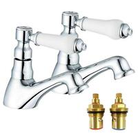 1/4 Turn Antique Victorian Style Bathroom Hot & Cold Basin Taps (Swan 2)