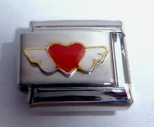 RED HEART WHITE ANGEL WINGS Italian Charm - Love 9mm fits Classic Bracelets N100