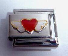 RED HEART WHITE ANGEL WINGS Italian Charm - Love 9mm fits Classic Bracelets N100