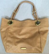 Steve Madden Tan Weave Motif Extra Large Tote Beach Over Night Shoulder Bag. EUC