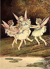 Ida R. Outhwaite Art Card Fairy Children Dancing in a Ring Daisies