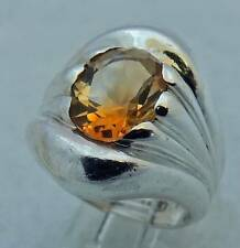 LOVELY CLASSY ESTATE STERLING SILVER CITRINE SOLITAIRE BAND RING SIZE 6