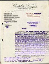 █ Facture 1925 CHATEL & DOLLFUS à Belfort Combustibles Minéraux et Végétaux 90 █