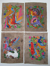 4 AMATE BARK PAINTING SET native ethnic mexican hanging folk art hand painted