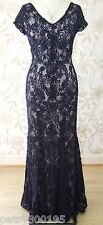BNWT Jacques Vert Navy Blue Tapework Long Maxi Evening Dress Size 16 RRP £349