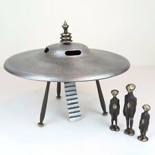 "Flying Saucer w/ Aliens Collectible Handmade Cast Aluminum Bronze Nelles 10""W"