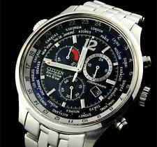 NEW! Citizen ECO-DRIVE GMT WR100 (AT0360-50L) World Time Slide Rule SAPPHIRE