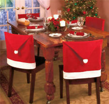 Newest Cozy Christmas Dinner Table Decoration Santa Clause Red Hat Chair 1PCS