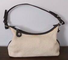 THE SAK Ivory / Cream, Crochet / Knit Small SHOULDER BAG ~ Brown Trim ~ Ex Cond