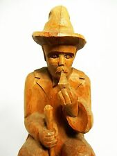 Wood Carving Man Folk Art Leiderhosen Smoking Pipe Brown