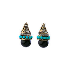 Dot & Line stella turquoise beads crystal pave black ball leverback dot earrings