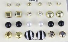 12 pair earrings gold black ball crystal faux pearl bead stud post set pack