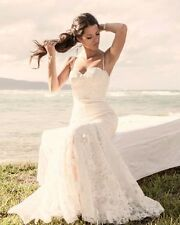 Custom Made Inbal Dror Dress, Low Back Ivory Lace Wedding Dress