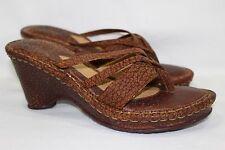 BORN SANDALS THONG WEDGE SLIDE # W9068 WOMEN'S SIZE 9/40.5 BROWN ~LEATHER~