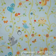 BonEful Fabric FQ Cotton Quilt Blue Baby Boy Nursery Bird Owl Tree Swirl Monkey