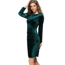 New Women Winter Long Sleeves Evening Party Dress Crushed Velvet Mid Mini Dress