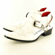 Mens Gents Pointed Toe Slip On Western Cowboy Ankle Boots UK Size 7 8 9 10 11