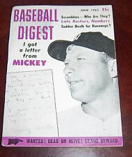 Baseball Digest  June  1962 Mickey Mantle