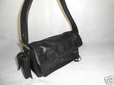 Women Black Shoulder Bag Mobile Pockets Real Leather Practically Size Medium