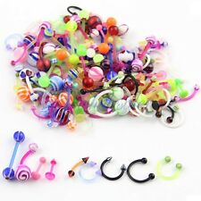 80 Wholesale Flexible mix lot UV lip tongue eyebrow piercing bar barbell JW449