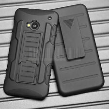 Rugged Hybrid Armor Impact Case Hard Cover Belt Clip Holster Skin For HTC One M7
