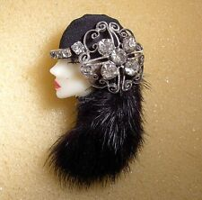 LADY HEAD doll FACE Porcelain-Look Resin Brooch Pin Figural Flapper fur hair RS