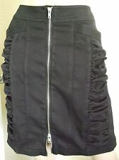 BLACK SKIRT WITH DOUBLE ENDED ZIP FRONT - SIZE 20 - NEW, UNWORN