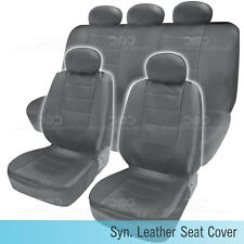 PU Synthetic Leather Gray Seat Cover Car Genuine Leather Feel Front & Rear Set