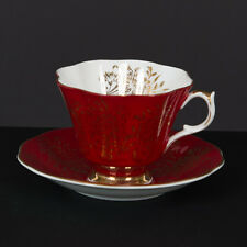 QUEEN ANNE TEA CUP AND SAUCER RED GOLD GILT &  FLORAL INSIDE  TEACUP