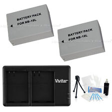 2X NB-10L NB10L Replacement Battery and USB Dual Charger f/ Canon SX40 HS SX40HS
