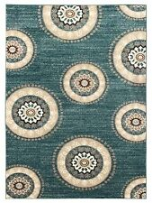 Medallion Circles 5' x 7' (59 inch by 83 inch) Teal-Blue Luxury Area Rug