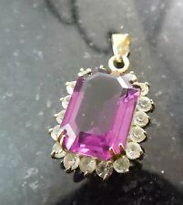 Gorgeous Purple Crystal Pendant with Rhinestone Border