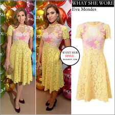New VALENTINO Yellow Floral Detail Lace Cocktail Sexy Dress Gown Size 40 4 $5980
