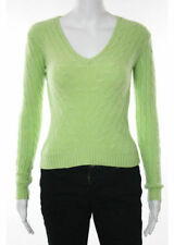 LORD &TAILOR Bright Green Cashmere Cabel Texture V Neck Pull Over Sweater Sz S 6