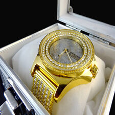 Real Diamond Yellow Gold Finish JoJino/Joe Rodeo 2 Row Bezel Custom Band Watch