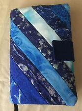 Fabric Book Cover, Paperback, Kindle - Quilted Patchwork, Multicolored Blues