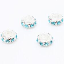 50pcs Wholesale Silver Plated Lake Blue Rhinestone Alloy European Charms Beads C