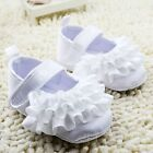 NEW Baby Girl White Satin ruffle Christening Pre-walker Shoes 0-6-9-12 months