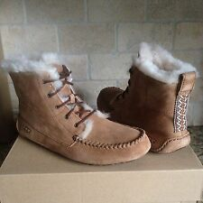 UGG Chickaree Lace-up Slippers Moccasins Chestnut Suede Womens US 11 New 1007716