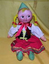 VTG 1970'S SWEDEN ETHNIC PEASANT GIRL CLOTH DOLL, ROUND MOON PORCELAIN MASK FACE