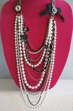 "BETSEY JOHNSON ""VINTAGE BETSEY"" MULTI CHAIN FAUX PEARL STATEMENT NECKLACE~RARE"