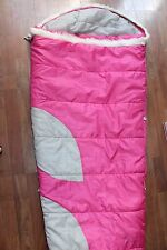 GIRLS KELTY BIG DIPPER SLEEPING BAG PINK EXPANDABLE EXTENDS WHITE FUZZ TRIM