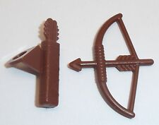Lego Bow & Arrow + Quiver x 1 Each Reddish Brown for Minifigure