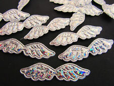 """50 Silver Hologram Glitter Applique 2""""/bow/embellishment/holiday/Angel L28-Wing"""