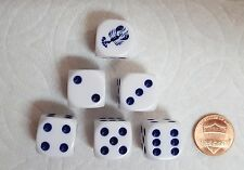 DICE-16mm  6/SET- OP WHITE w/BLUE LOBSTER #1 & BLUE PIPS - LOBSTER TAILS ON DICE