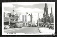 Melbourne rppc Swanston Street Tram Car Cathedral Australia 50s