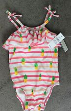 GAP SWIMSUIT UPF 40+WITH PINK STRIPES AND PINEAPPLES & FRILL AT NECK 3-6m BNWT